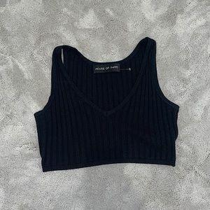 Black v-neck sweater-like bralette/crop top